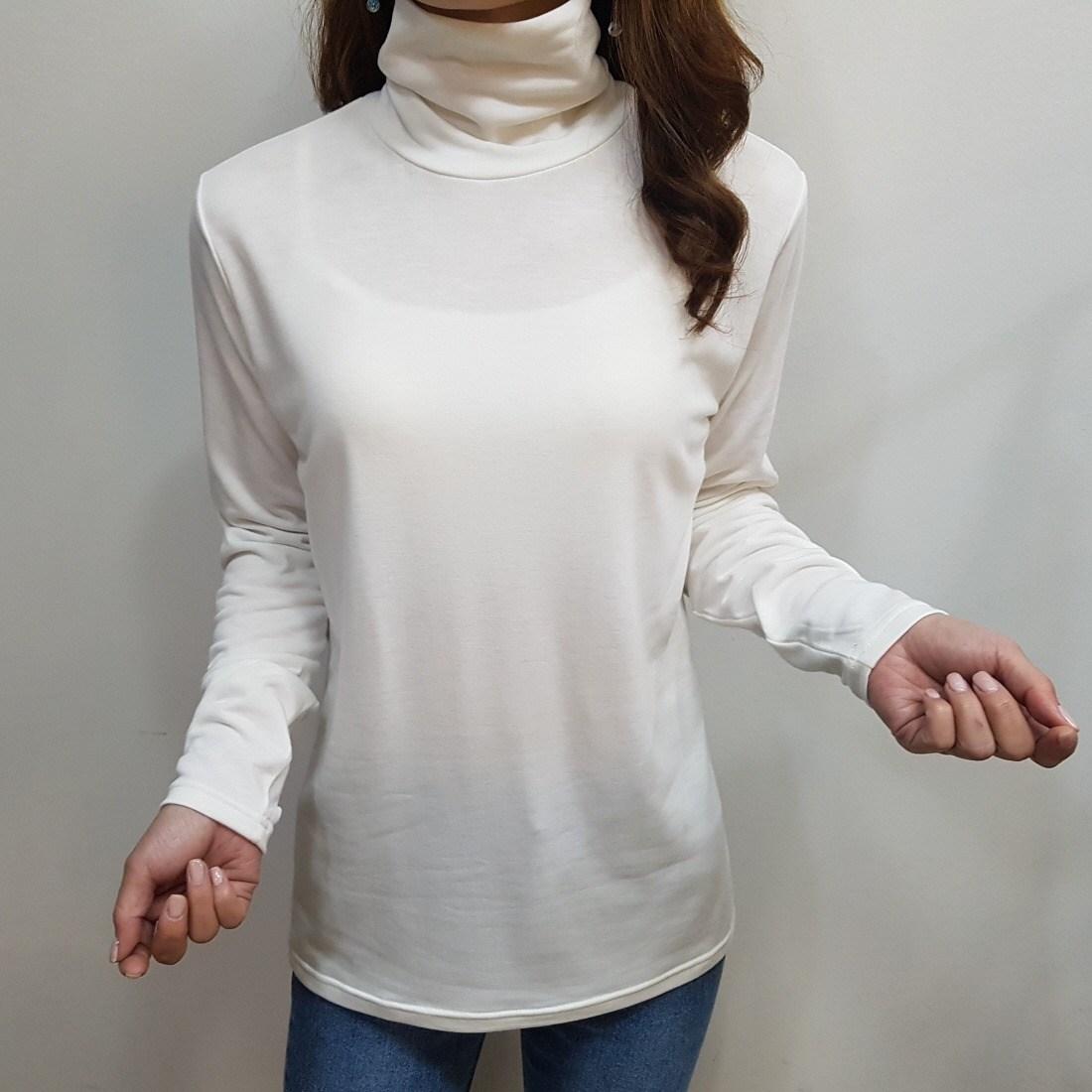 디바스타 여성용 포근한 겨울 이너 기모 폴라티셔츠