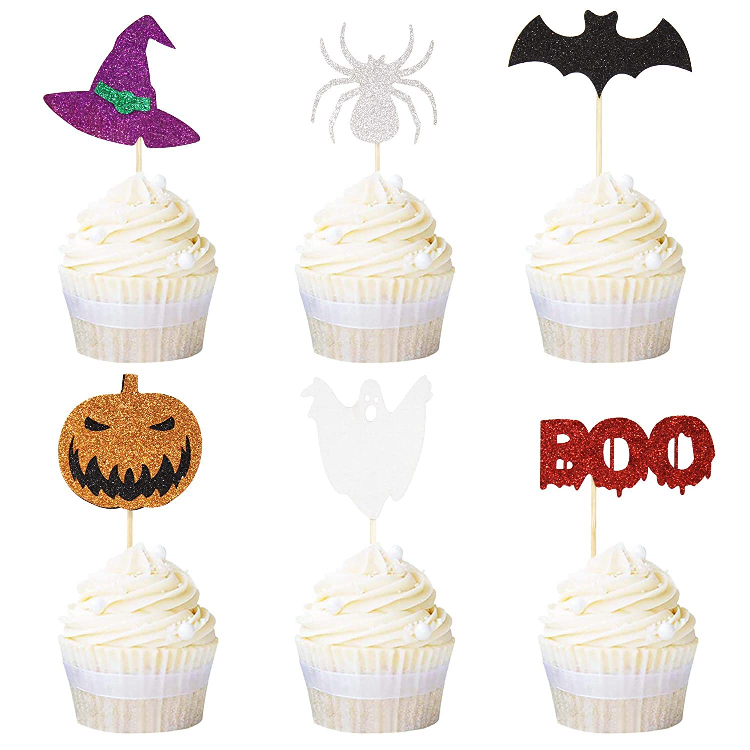 Newqueen 24 Pack Halloween Cupcake Toppers Witch Hat Bats Spider Pumpkin Ghost Mini Cupcake Picks Ha, 1