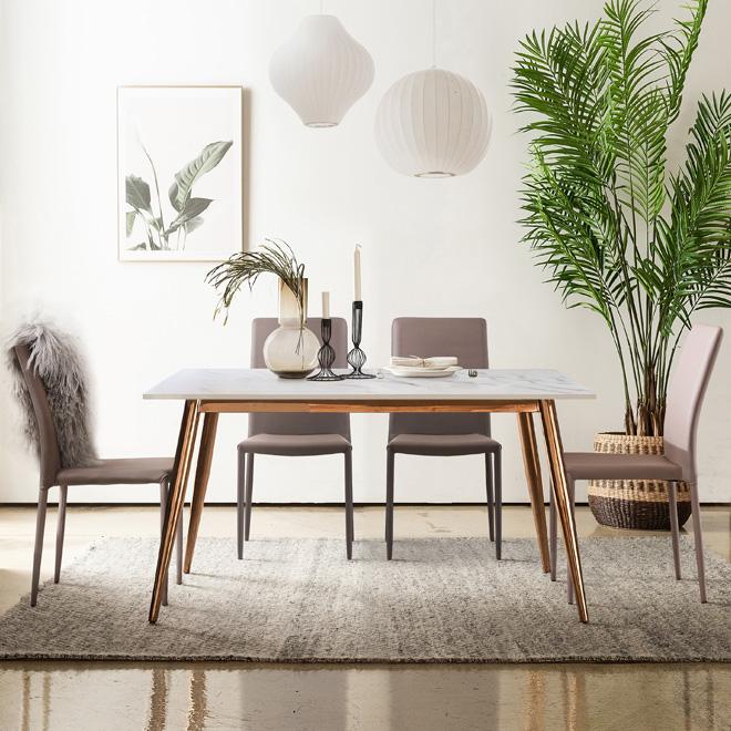 제나 화이트 포세린 통세라믹 4인용 식탁 세트 1400, 1400식탁+의자4개(색상 배송메세지 기재)
