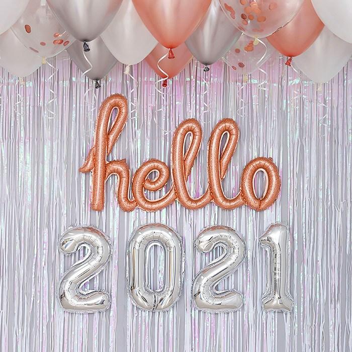 제이벌룬 HELLO 2021 신년 파티 용품 풍선 장식 세트, 필기체 로즈골드톤