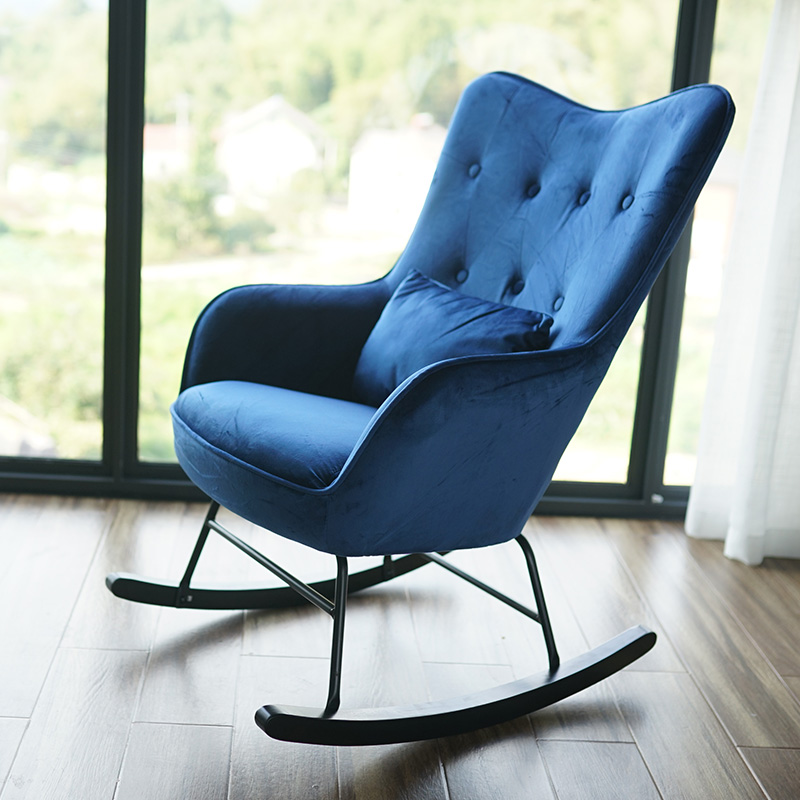 1인용 흔들의자 카페 거실 푹신한 쇼파 흔들 의자, 사파이어 블루 벨벳 블랙 피트