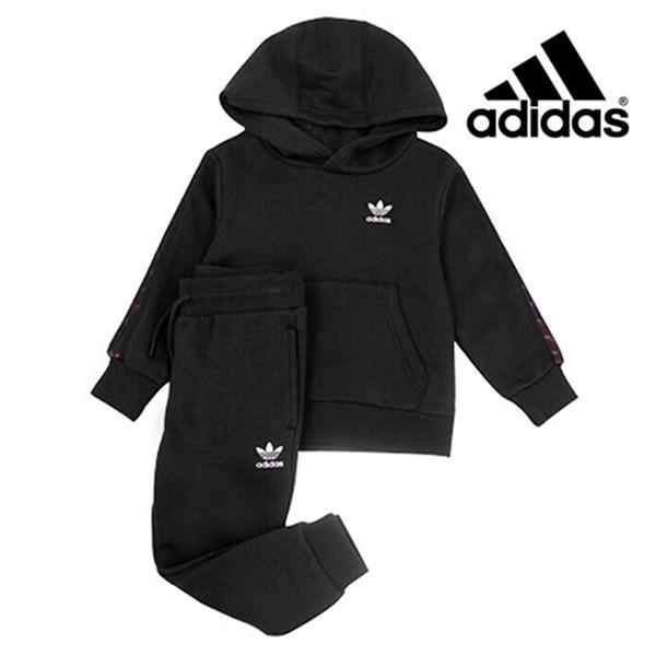 adidas 키즈size특가 아디다스 트랙수트 6 17세 TAPE HOODIE SET ED7755 BLACK