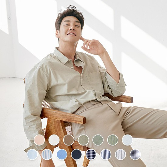 [지오다노] 040514 릴렉스드핏 포플린 셔츠 60수