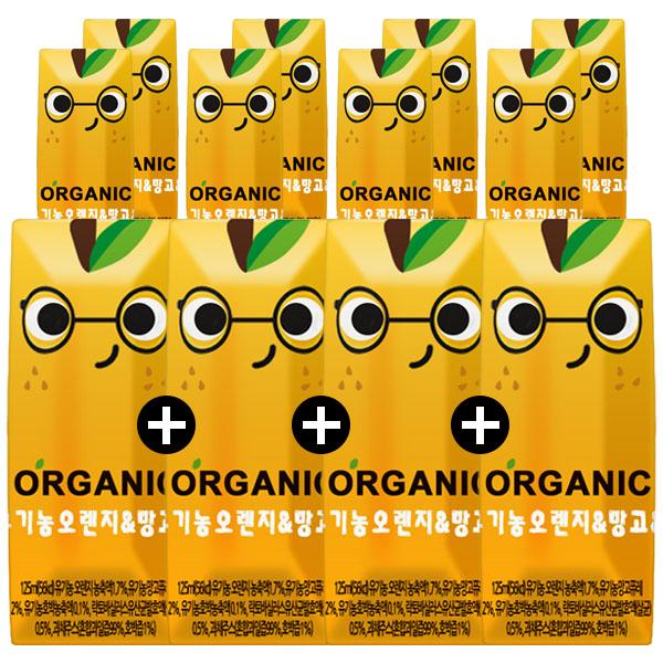 오가닉쥬스 크니쁘니 100% 유기농 오렌지&망고, 12개, 125ml