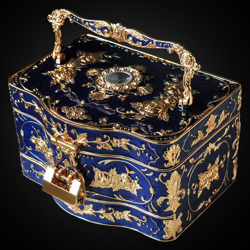 자개보석함 미니자개함 Wasjoye 3 층 유럽 스타일의 공주 보석 상자 잠금 대형, 에나 모드 블루