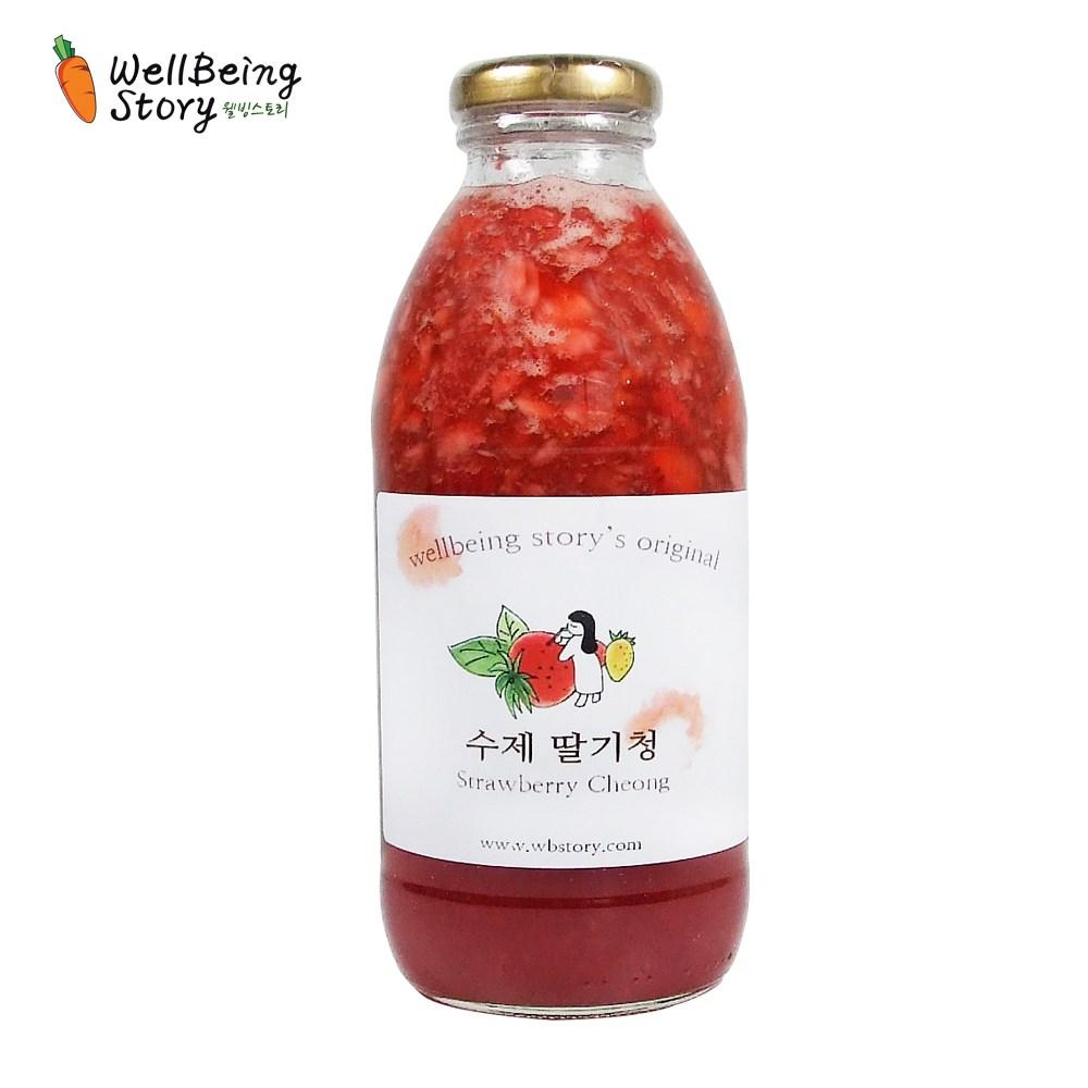 웰빙스토리 국내산 딸기로 만든 맛있는 수제 딸기청 과일청 600g, 1개