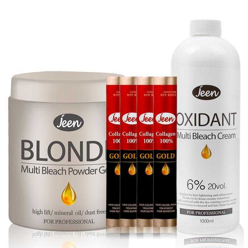 [당일발송] 진블론드 탈색약 파우더 탈색제, 1세트, 탈색제 500g + 산화제 1000ml + 콜라겐 4개