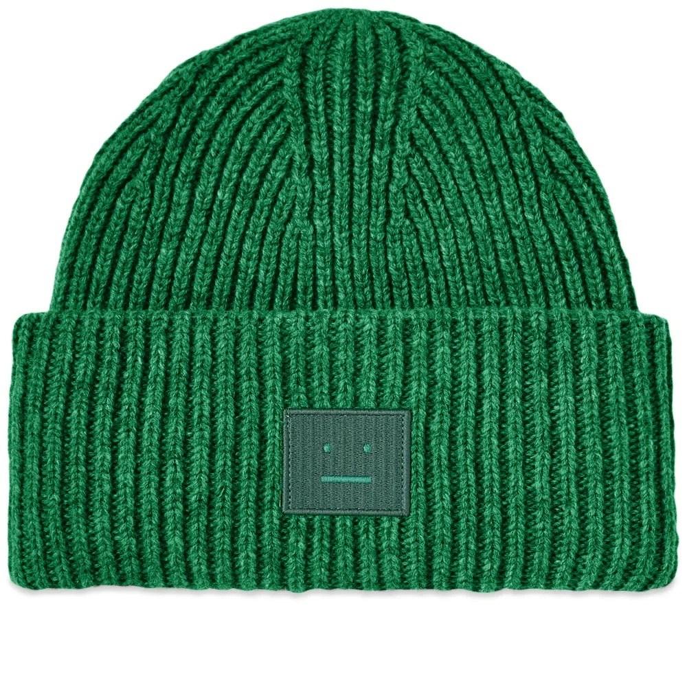 아크네 D40009 BGO 페이스패치 울 비니 딥그린 모자