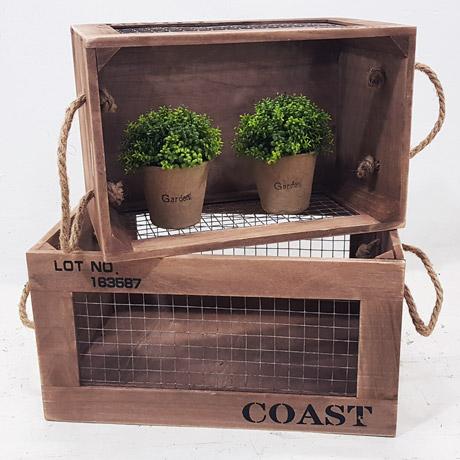 한소픈 철망 우드박스 (중) 수납함 나무상자 사과박스 정리용품 공간박스 빈티지 와인박스, 1개