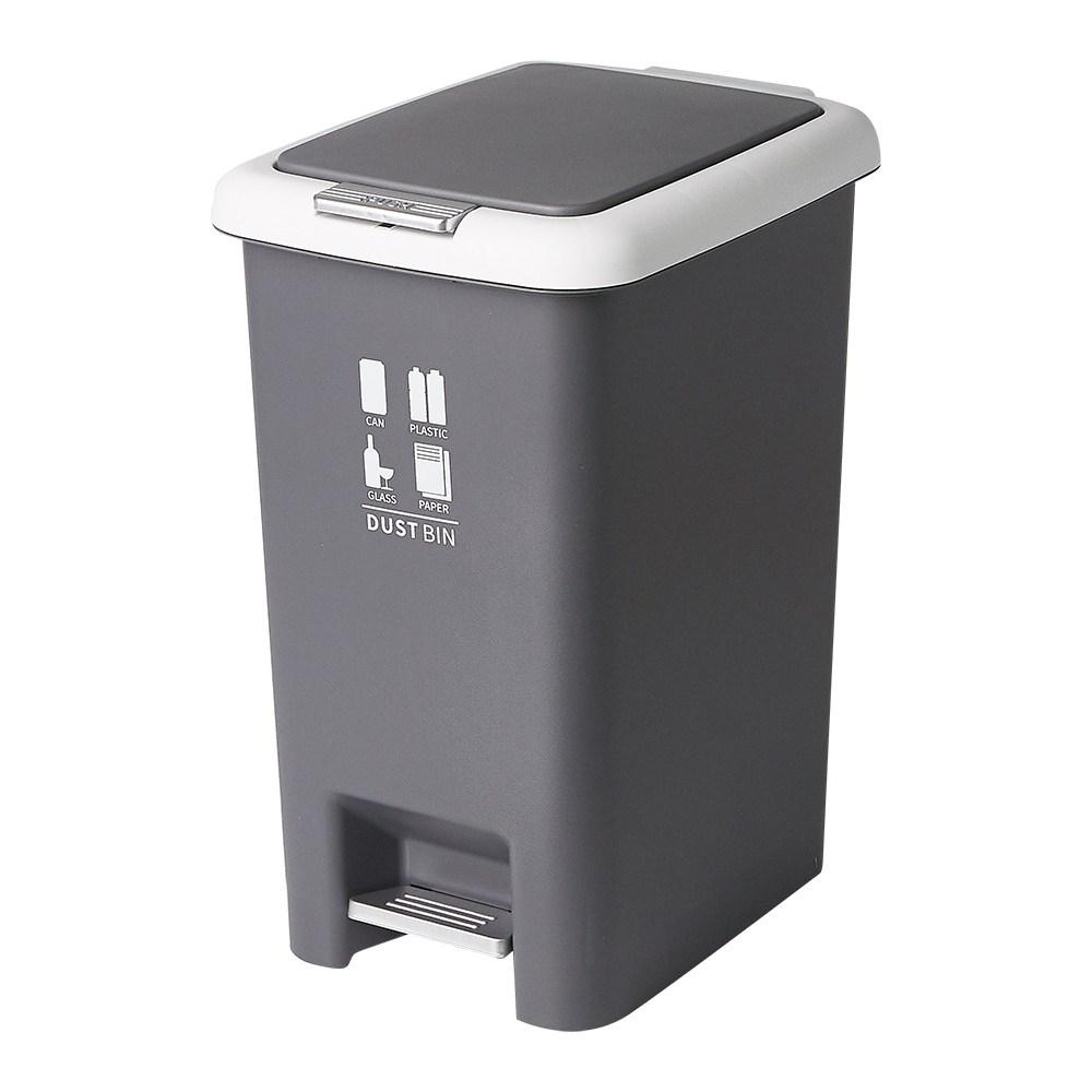 할메이드 다용도 페달 휴지통 10L 20L 대용량 쓰레기통 분리수거함, 20L 그레이