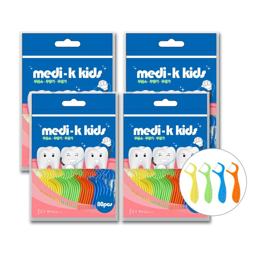 Medi-k Kids 메디케이 유아용 치실 80px 4 총 320p 국내생산, 80개입, 4팩