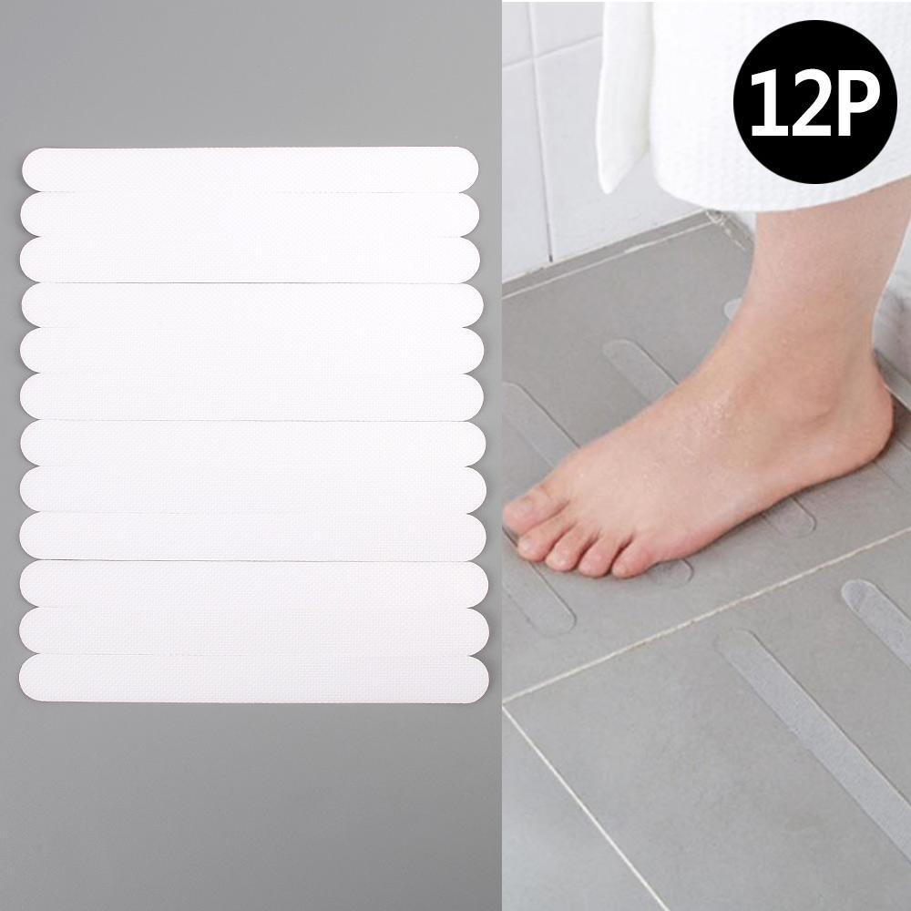 실내용 욕실 욕조 논슬립 12P 욕실미끄럼방지테이프 미끄럼방지 고정스티커 미끄럼방지테이프 바닥논슬립 계단미끄럼방지, 12