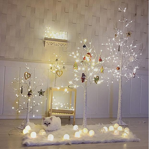파파준 북유럽감성 USB 화이트 자작나무 크리스마스 트리 인테리어 조명, 120cm