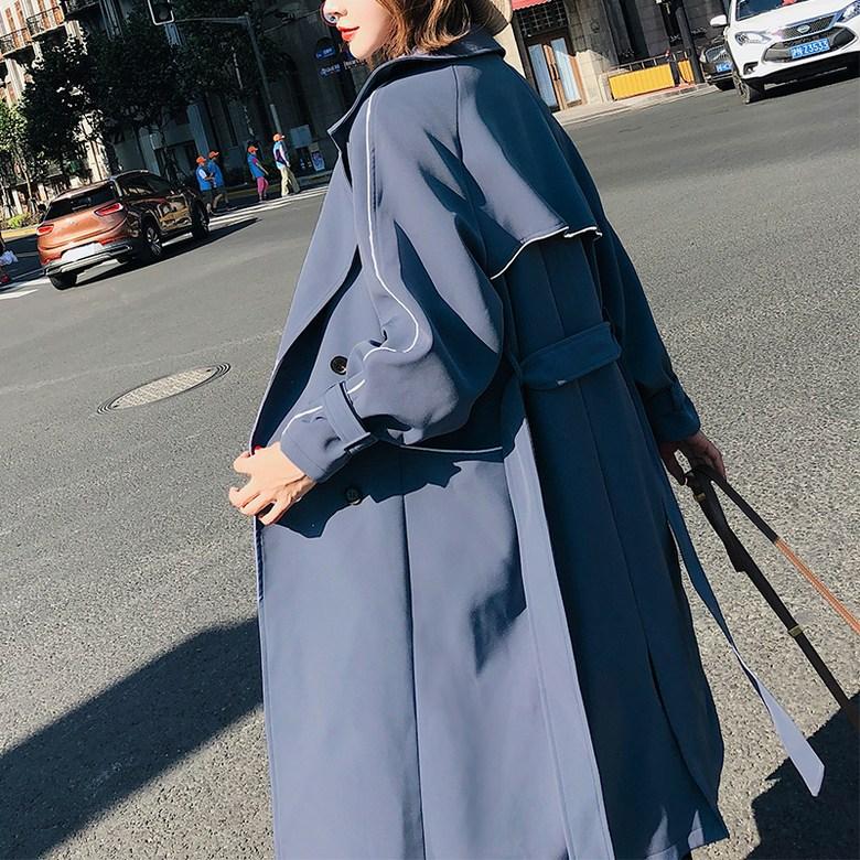 여성 봄 가을 간절기 루즈 라인 포인트 트렌치 코트