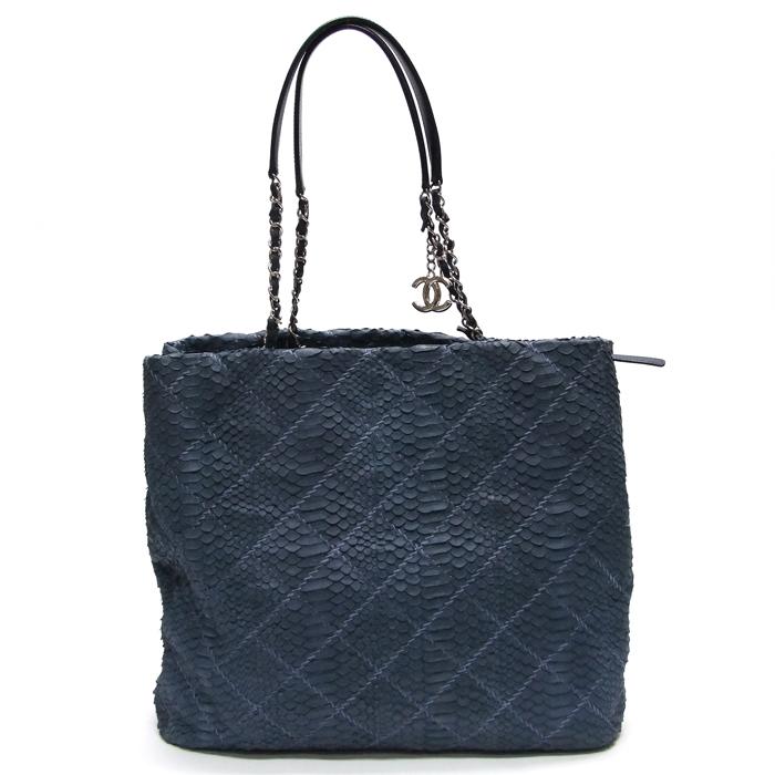 [뉴욕명품] Chanel(샤넬) 가방 블루 파이톤 은장 체인 숄더백(14번대)