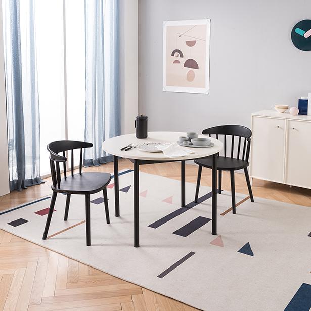 리바트온라인 로티르 4인 원형식탁SET 의자2개, 8) 화이트+메이빌체어 B형(베이지)