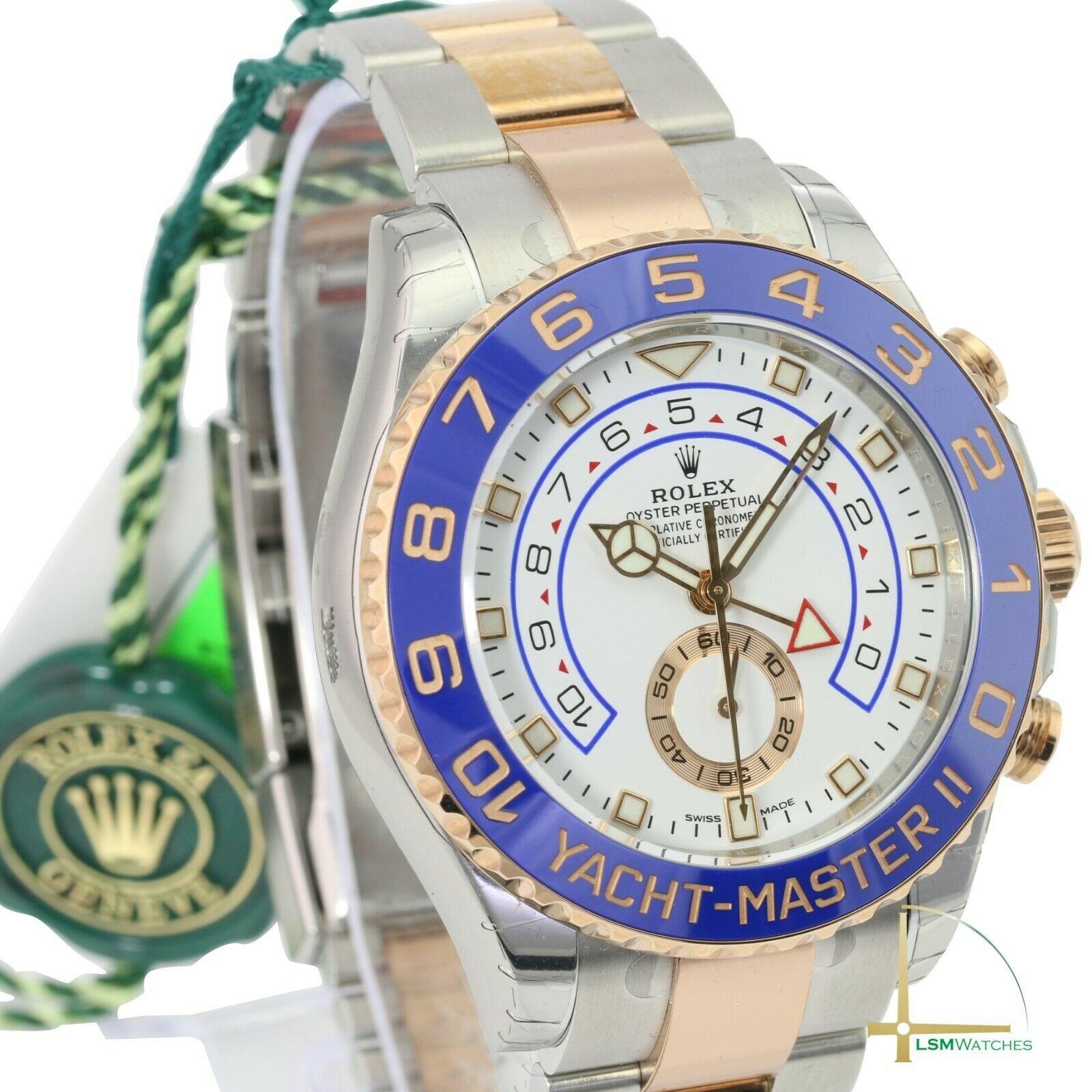 362726 롤렉스 Rolex 시계 Yacht-마스터 II 116681 18k 로즈골드 & 스틸 화이트& 블루 Face 44mm