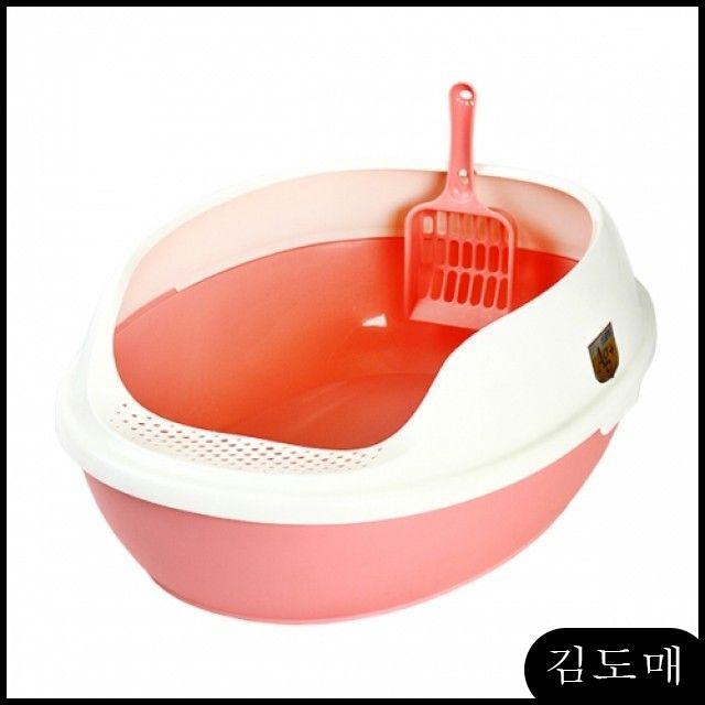 KDM 고양이화장실 대형고양이화장실 마칼 거름망 화장실(핑크) 배변용품 고양이두부모래
