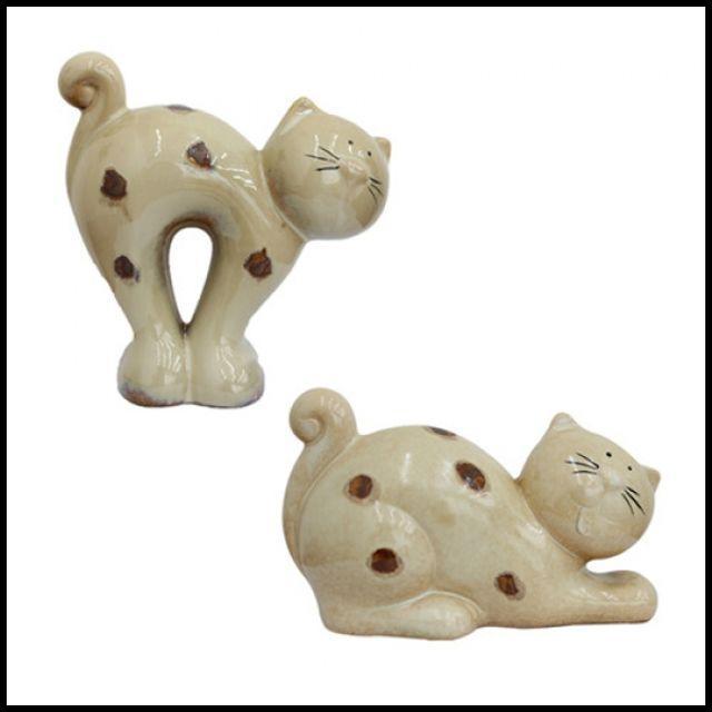 OT 인테리어 장식 거실장식품 테이블 꾸미기 도트 고양이 2세트 용품 러브소품 장식인형