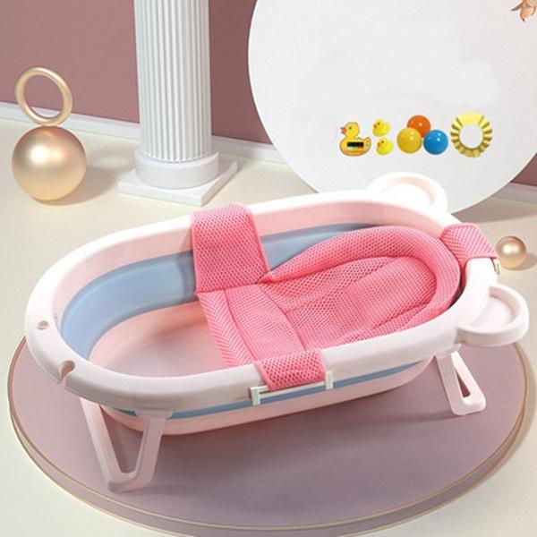 뽀뽀아가 어린이 욕조 접이식 아기욕조 신생사 욕조ET0063 유아욕조, 핑크+망사 시트