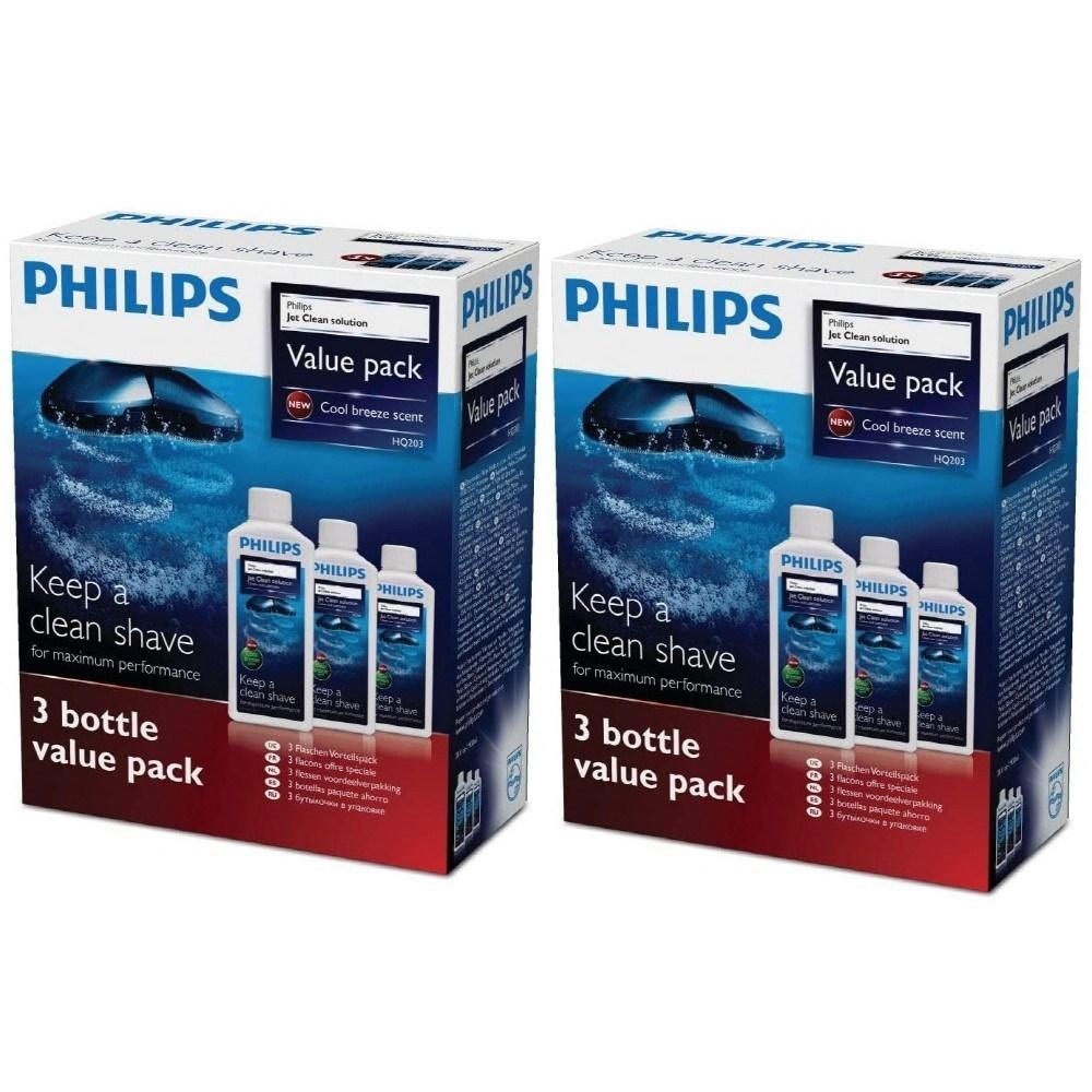 Philips 필립스 면도기 세척액 HQ203 제트클린솔루션 300ml 3보틀 x 2팩, -