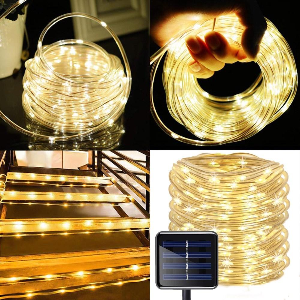 Solar 태양광 100 LED 튜브 호스 줄 야외 조명 인테리어등, 노란빛(Warm White)