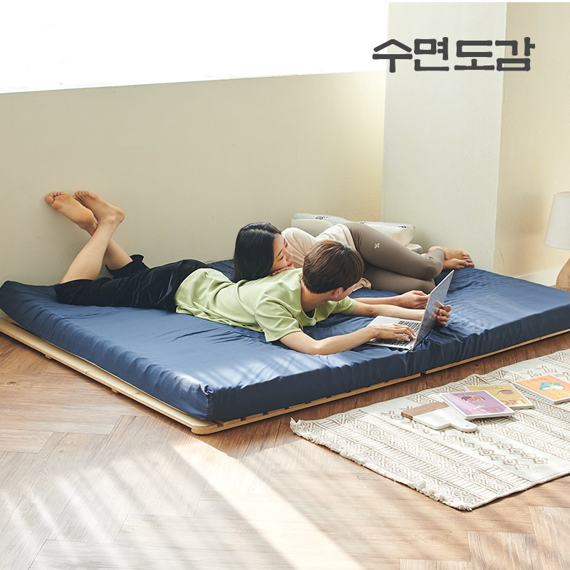 수면도감 14존 토퍼 매트리스 바닥 침대 매트리스 7CM 11CM 1인용 싱글 퀸 두꺼운 매트리스, 네이비블루