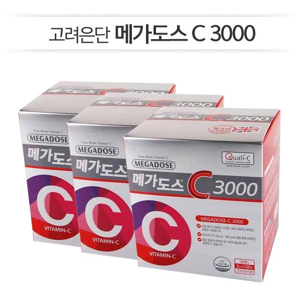 [고려은단] 메가도스C3000 (100포총3박스) 100%영국산비타민C, 3박스