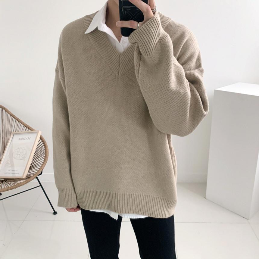 남자 박스오버핏 무지 브이넥 이중지 니트(5color)