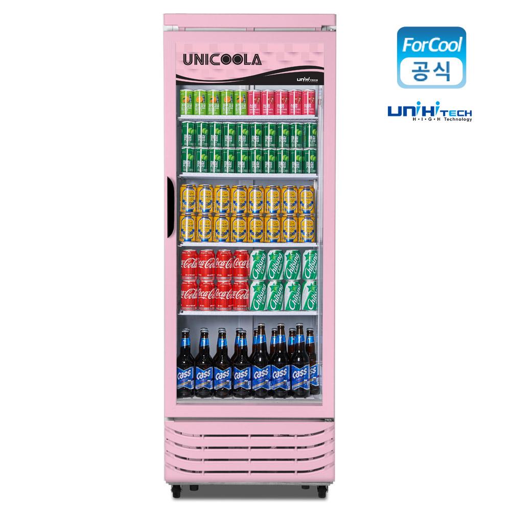 유니하이테크 음료수냉장고 업소용 냉장쇼케이스 핑크색 UN-465RF, 무료배송지역