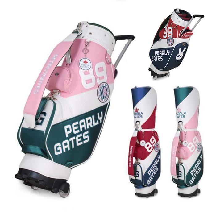 여성 캐디백 골프가방 화이트 바퀴 골프백, 레드