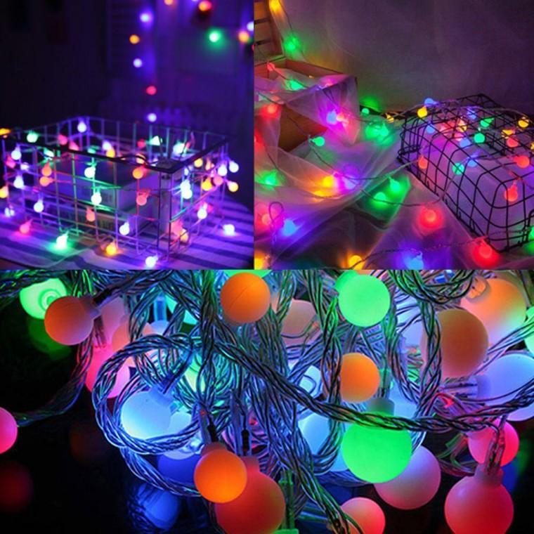 감성캠핑 홈캠핑 LED 컬러 앵두전구 40구 6m (건전지타입) 크리스마스 전구, 컬러앵두전구40구6m