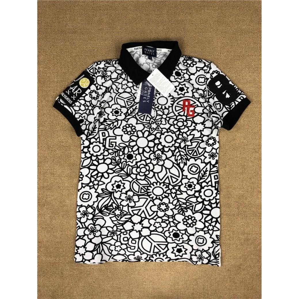 파리게이츠 제프리 여성 카라 기능성 고급 골프 반팔 티셔츠, 흑백 인쇄