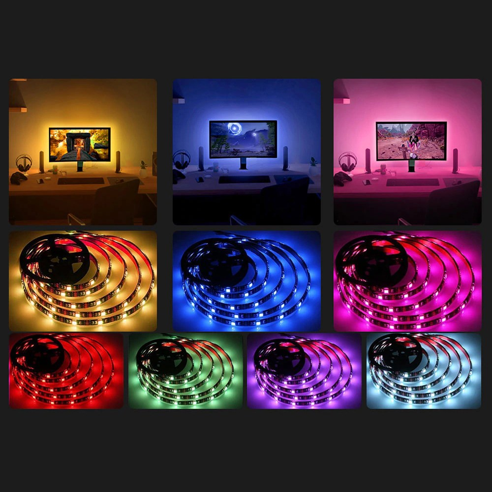 비상 PC 모니터 간접등 무드등 USB RGB 붙이는 LED바 줄조명, 1.LED바200cm