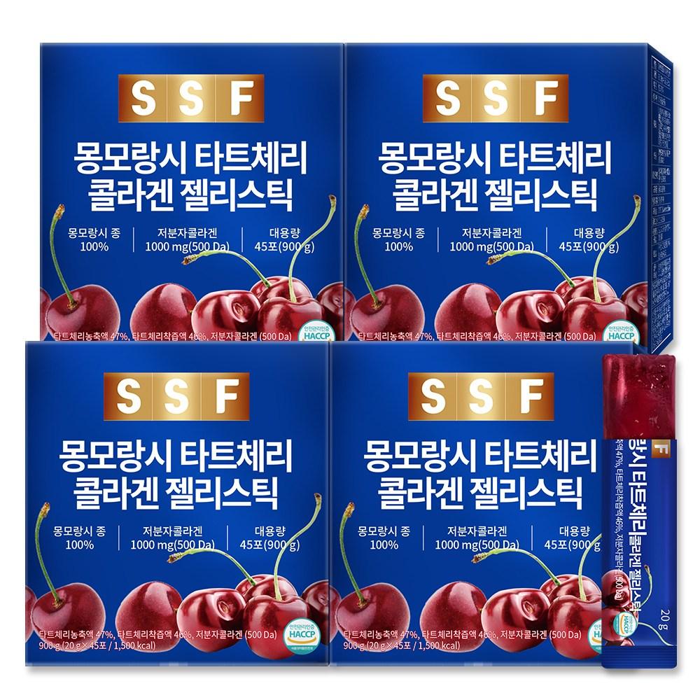 순수식품 몽모랑시 타트체리 저분자 피쉬 콜라겐 젤리 스틱 4박스 180포*20g(3600g) 대용량, 180개, 20g