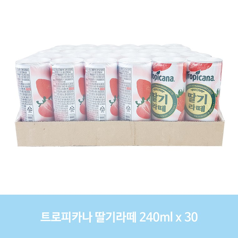 DA 240ml 30 음료 어린이 칠성 과즙 주스 068B 트로피카나 딸기라떼, 단품, 단품