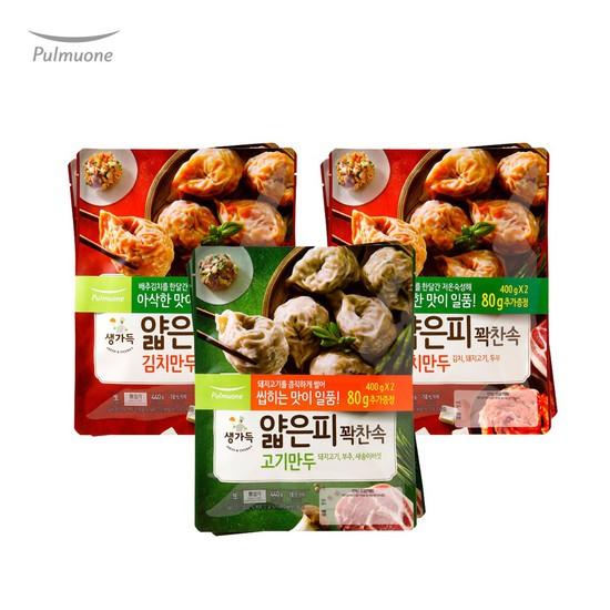 [풀무원]생가득 얇은피만두 2종혼합 김치만두4봉+고기만두2봉, 없음, 상세설명 참조