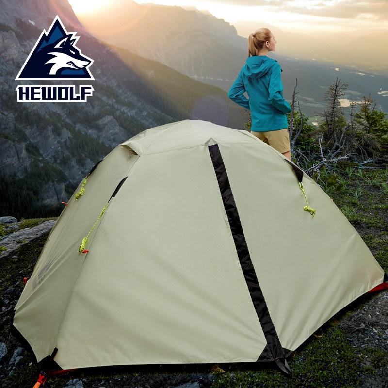 Hewolf 2인용 등산 4계절 방수 경량 텐트 백패킹 캠핑용 210T 190T 210D, 2인, 회색 그레이색상