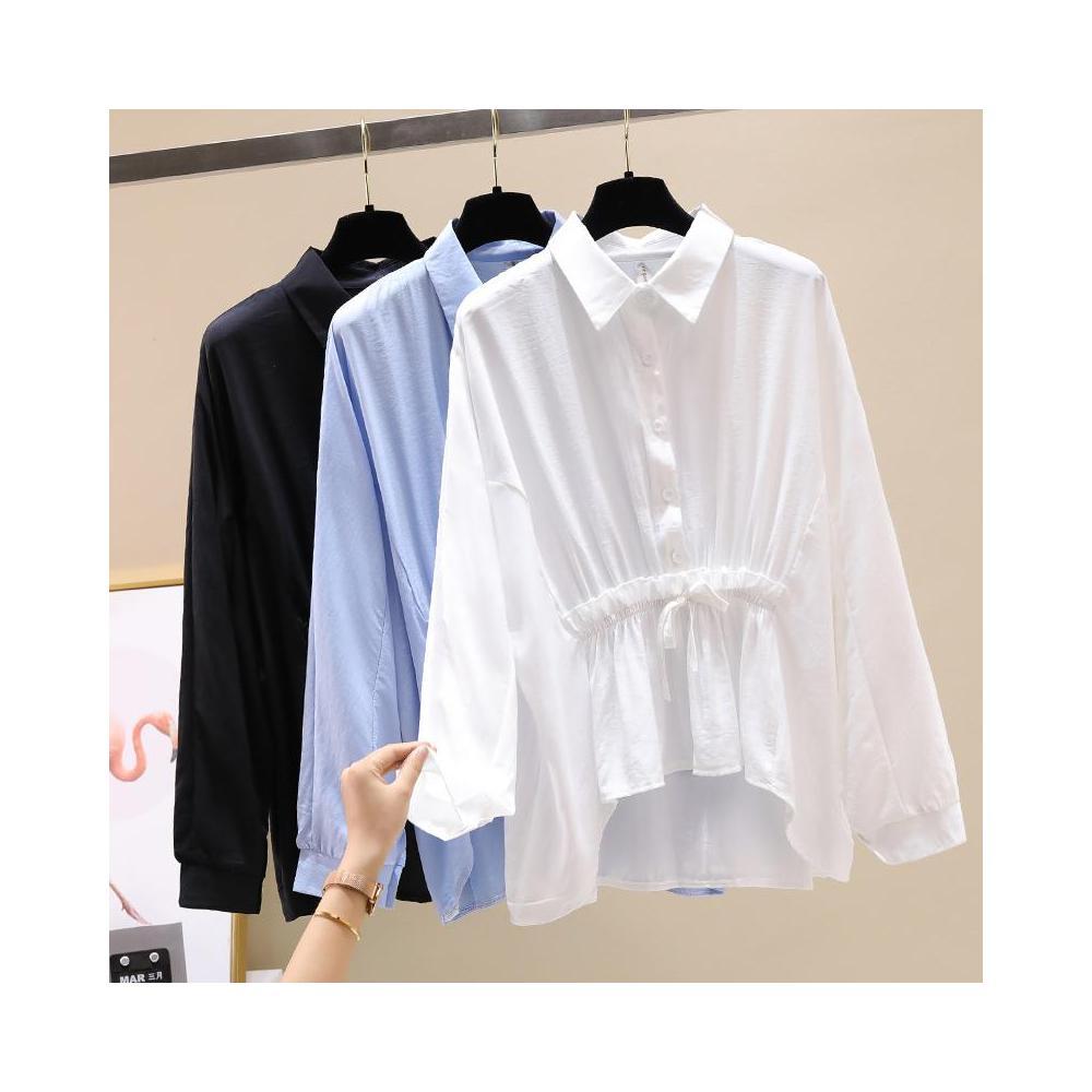 알지구 썸머 블라우스 실제 샷 기질 여성 셔츠 2020 여름 중간 길이 박쥐 소매 연령 감소 헵번 스타일 쉬폰