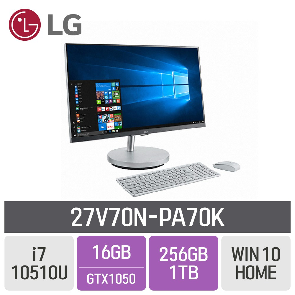 LG 일체형PC 27V70N-PA70K, RAM 16GB + SSD 256GB + HDD 1TB