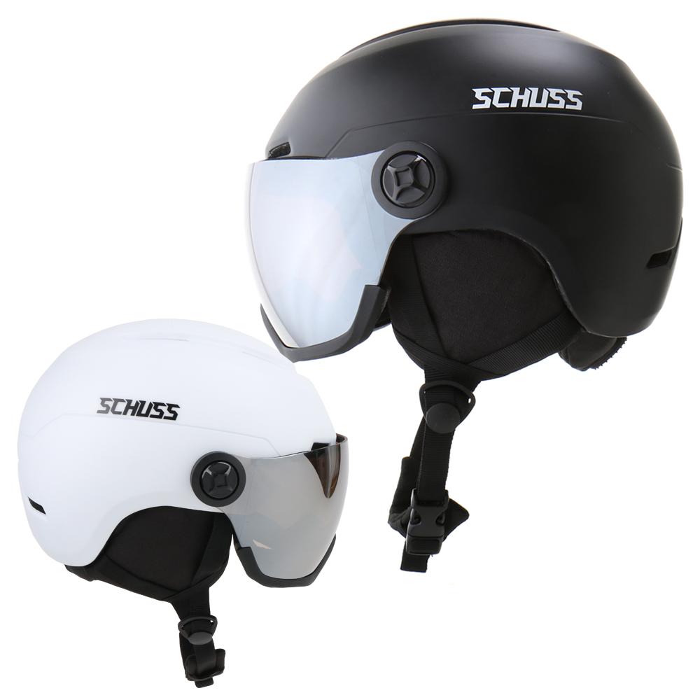 SCHUSS 고글헬멧 보드헬멧 스키헬멧 고글일체형 헬멧, 무광블랙 M