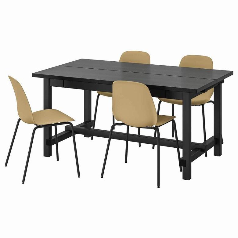 테이블+의자4 블랙 브로링에 블랙 NORDVIKEN LEIFARNE 152 223x95 cm, 기본