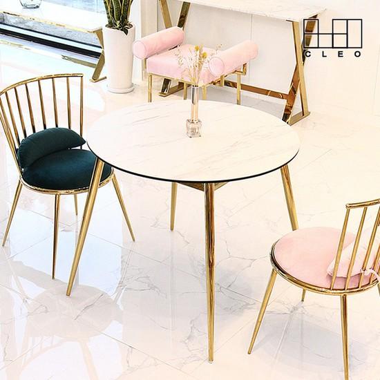 베로니카 세라믹 골드 환봉 원형 식탁 테이블_CL283, 01_화이트
