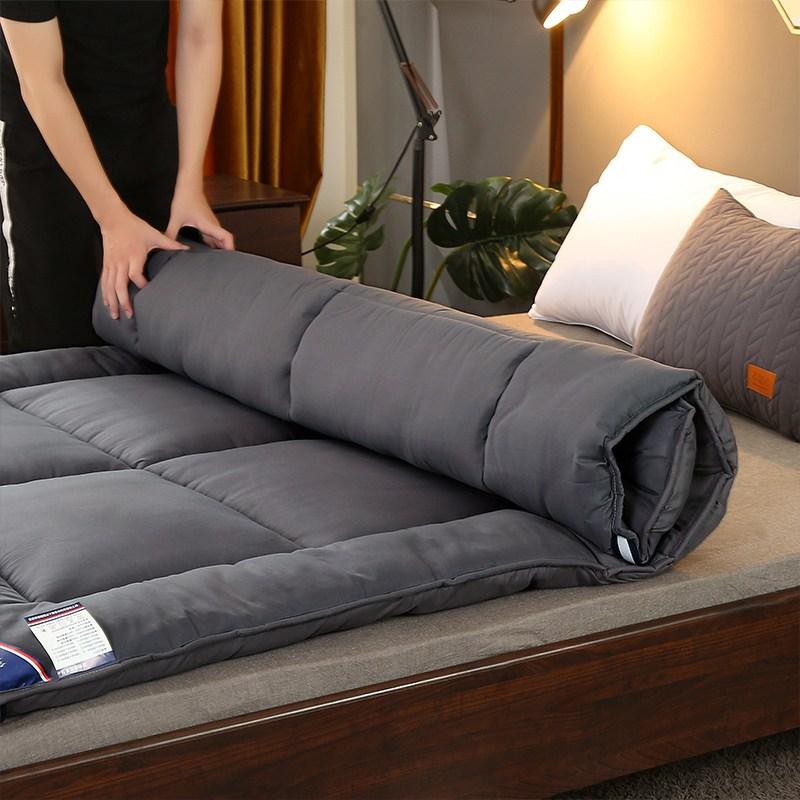 여름 두꺼운 매트리스 토퍼 학생 기숙사 1인 15m 침대 바닥침대 잠자기 매트, 다크그레이