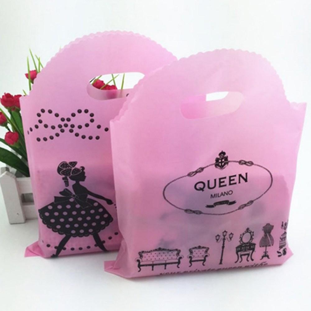 비닐쇼핑백 큐트걸 중형 50매_럭키데이2016 명품 의류매장 고급 옷가게 비닐쇼핑가방 의류매장 선물포장 쇼핑백 비닐가방