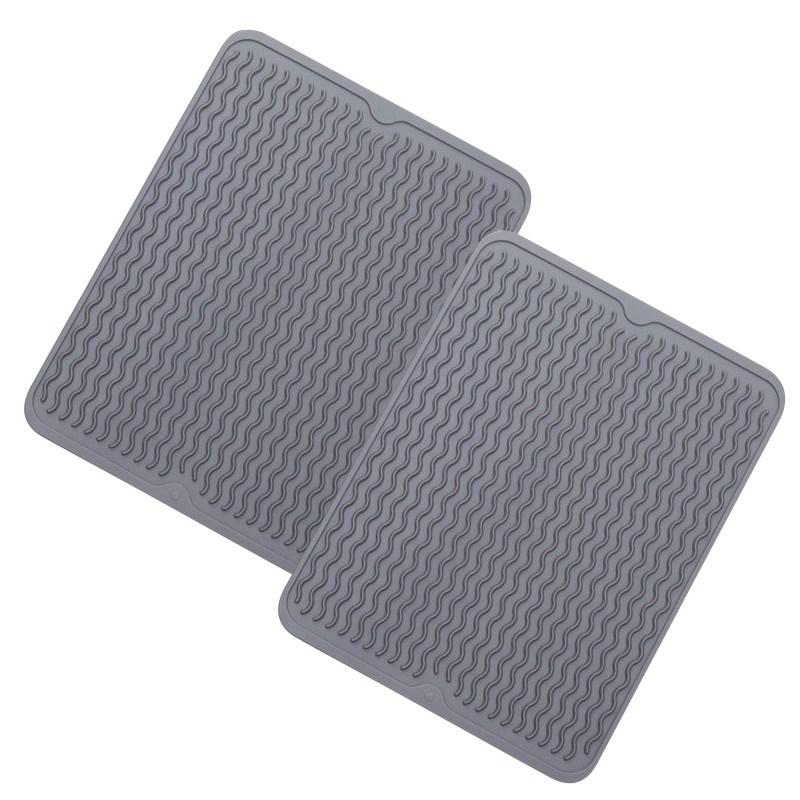 구디푸디 실리콘 드라잉매트 (1+1), 그레이 (40.5 x 31cm)