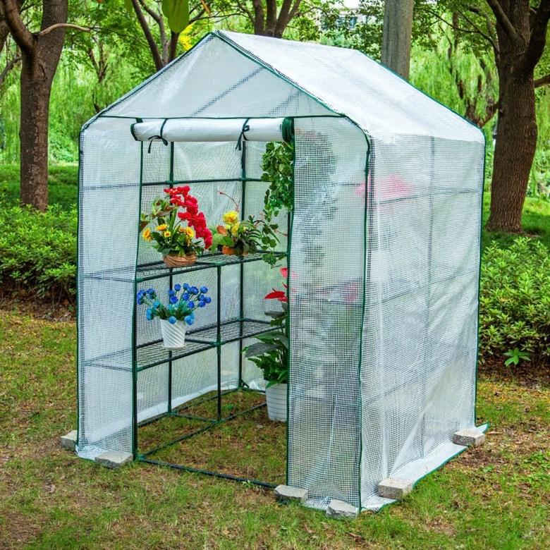 가정용 베란다 다육이 옥상 비닐하우스 온실 마당 소형 미니 조립식 화단꾸미기, 더블 (흰색)143x143x195cm개