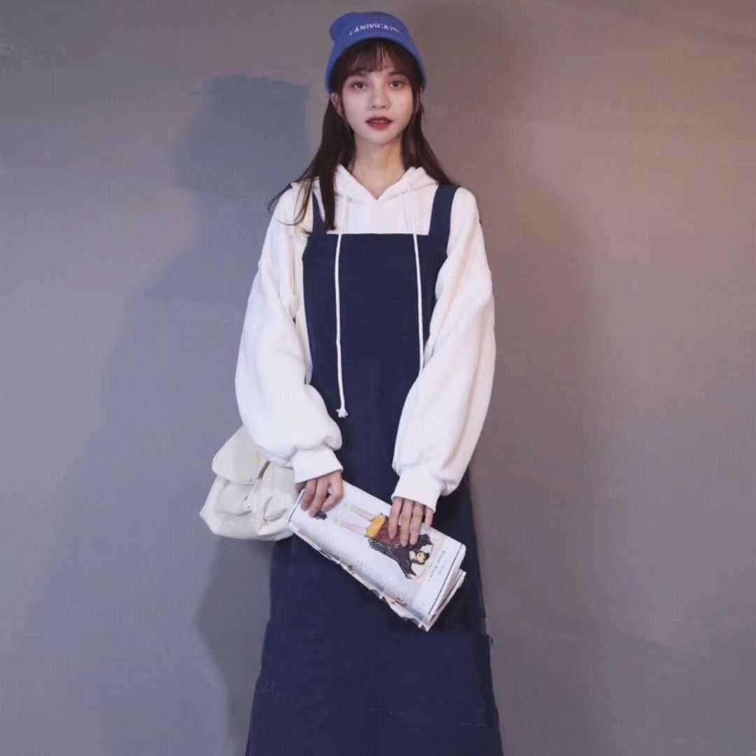 캣츠미 긴팔 여성 겨울 가을 계절 소녀 감각 코디 후드티셔츠 멜빵을 달다 투수영복 룩