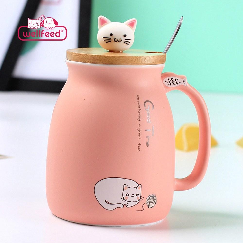 웰피드 고양이 뚜껑 파스텔 머그컵 450ml, 핑크, 1개