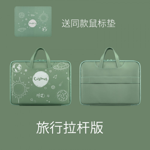노트북 가방 레노버 샤오미 델 애플 맥북 프로13 휴대용 노트북 air13.3 14인치 화웨이 방수 라이너 가방, 선택 = 13 인치 녹색 유니버스 (같은 마우스 패드 보내기)